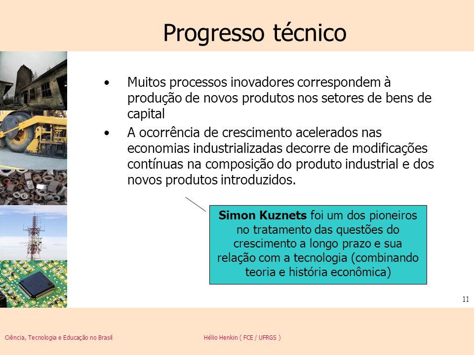 Ciência, Tecnologia e Educação no Brasil Hélio Henkin ( FCE / UFRGS ) 11 Progresso técnico Muitos processos inovadores correspondem à produção de novo
