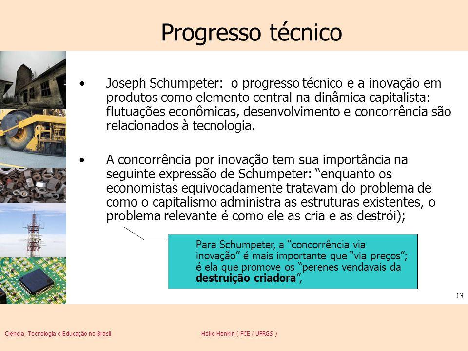 Ciência, Tecnologia e Educação no Brasil Hélio Henkin ( FCE / UFRGS ) 13 Progresso técnico Joseph Schumpeter: o progresso técnico e a inovação em prod