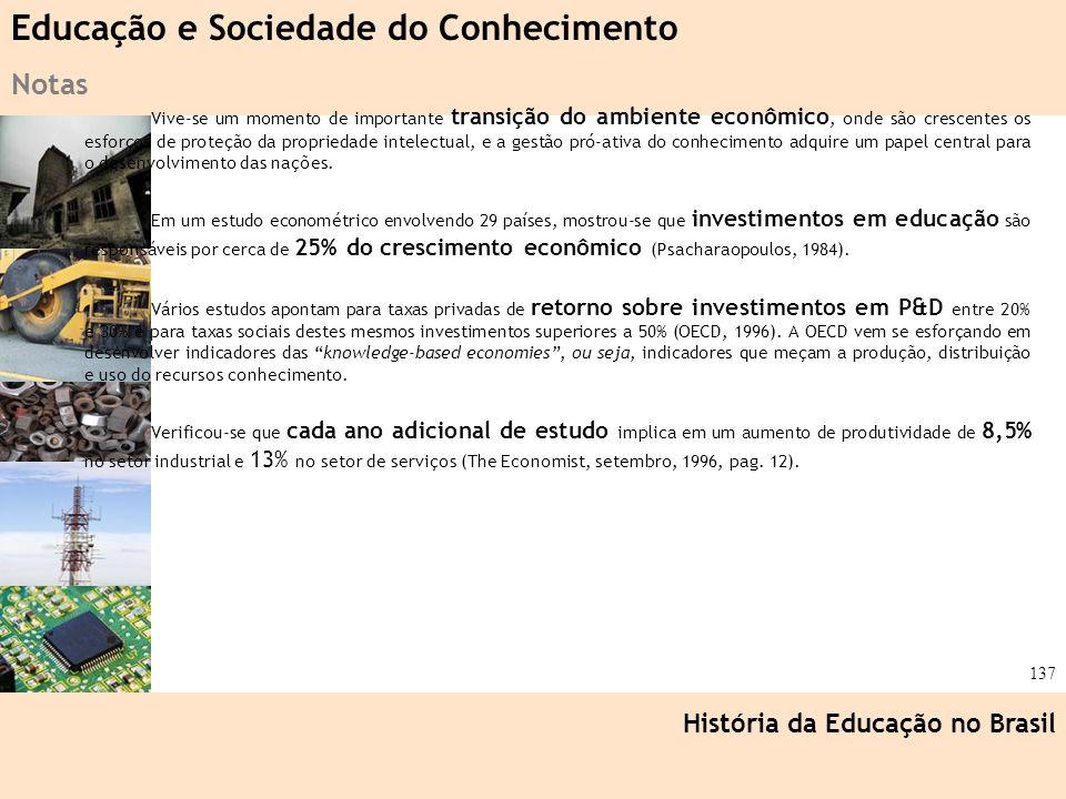 Ciência, Tecnologia e Educação no Brasil Hélio Henkin ( FCE / UFRGS ) 137 Vive-se um momento de importante transição do ambiente econômico, onde são c