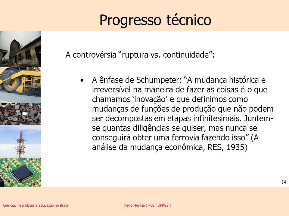 Ciência, Tecnologia e Educação no Brasil Hélio Henkin ( FCE / UFRGS ) 14 Progresso técnico A controvérsia ruptura vs. continuidade: A ênfase de Schump