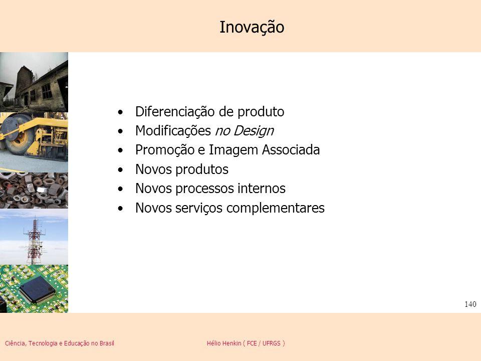Ciência, Tecnologia e Educação no Brasil Hélio Henkin ( FCE / UFRGS ) 140 Inovação Diferenciação de produto Modificações no Design Promoção e Imagem A