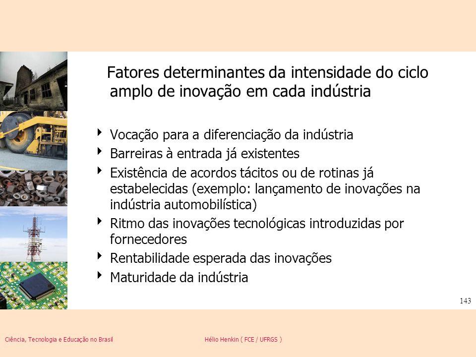 Ciência, Tecnologia e Educação no Brasil Hélio Henkin ( FCE / UFRGS ) 143 Fatores determinantes da intensidade do ciclo amplo de inovação em cada indú
