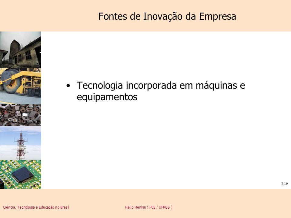 Ciência, Tecnologia e Educação no Brasil Hélio Henkin ( FCE / UFRGS ) 146 Fontes de Inovação da Empresa Tecnologia incorporada em máquinas e equipamen