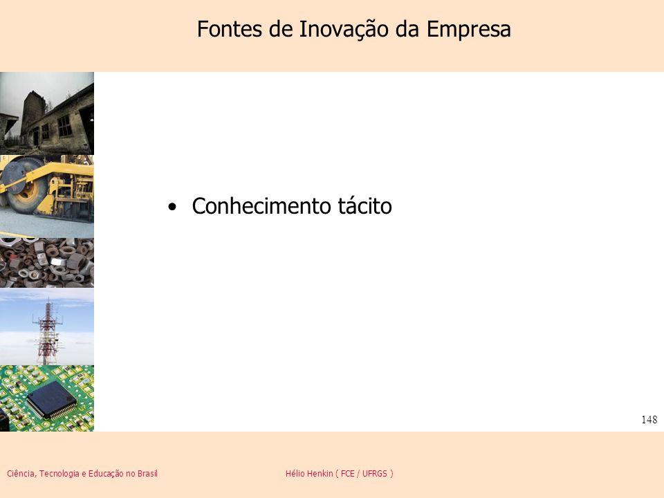 Ciência, Tecnologia e Educação no Brasil Hélio Henkin ( FCE / UFRGS ) 148 Fontes de Inovação da Empresa Conhecimento tácito