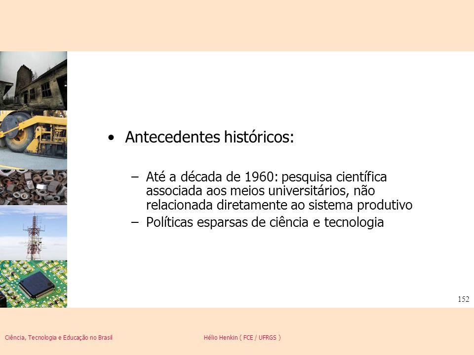 Ciência, Tecnologia e Educação no Brasil Hélio Henkin ( FCE / UFRGS ) 152 Antecedentes históricos: –Até a década de 1960: pesquisa científica associad