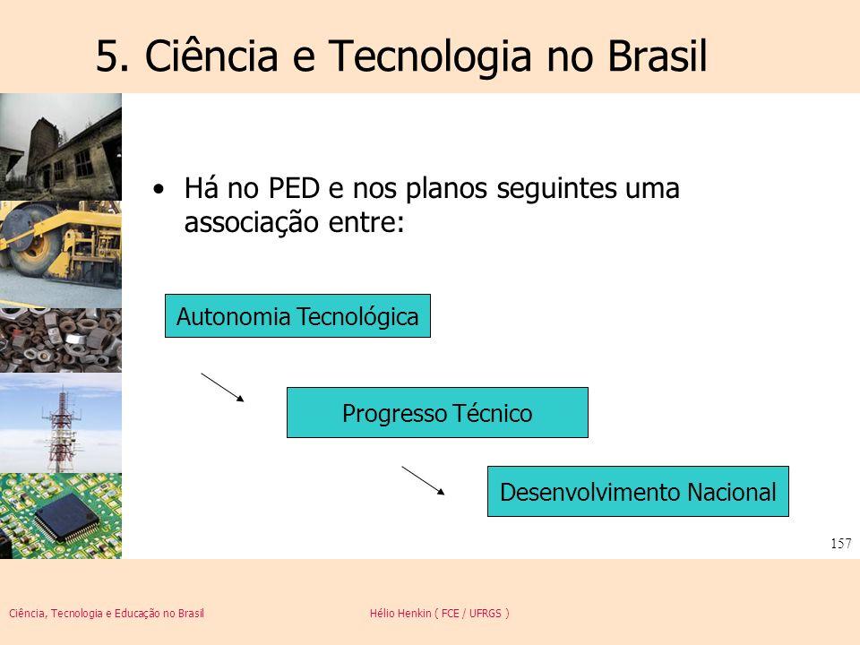 Ciência, Tecnologia e Educação no Brasil Hélio Henkin ( FCE / UFRGS ) 157 5. Ciência e Tecnologia no Brasil Há no PED e nos planos seguintes uma assoc