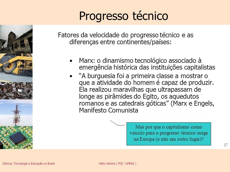Ciência, Tecnologia e Educação no Brasil Hélio Henkin ( FCE / UFRGS ) 17 Progresso técnico Fatores da velocidade do progresso técnico e as diferenças