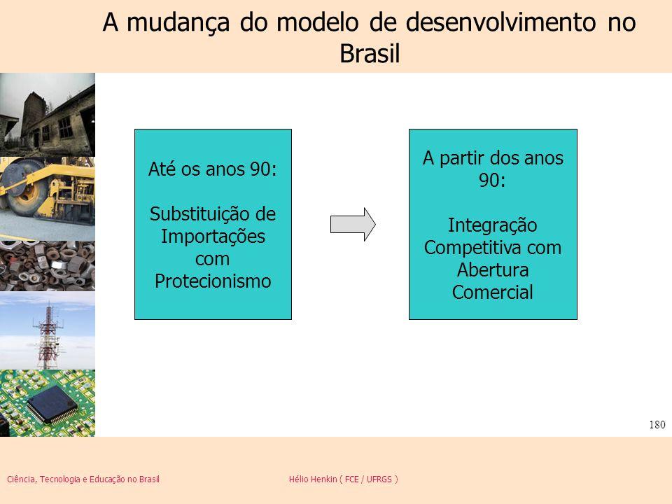 Ciência, Tecnologia e Educação no Brasil Hélio Henkin ( FCE / UFRGS ) 180 A mudança do modelo de desenvolvimento no Brasil Até os anos 90: Substituiçã