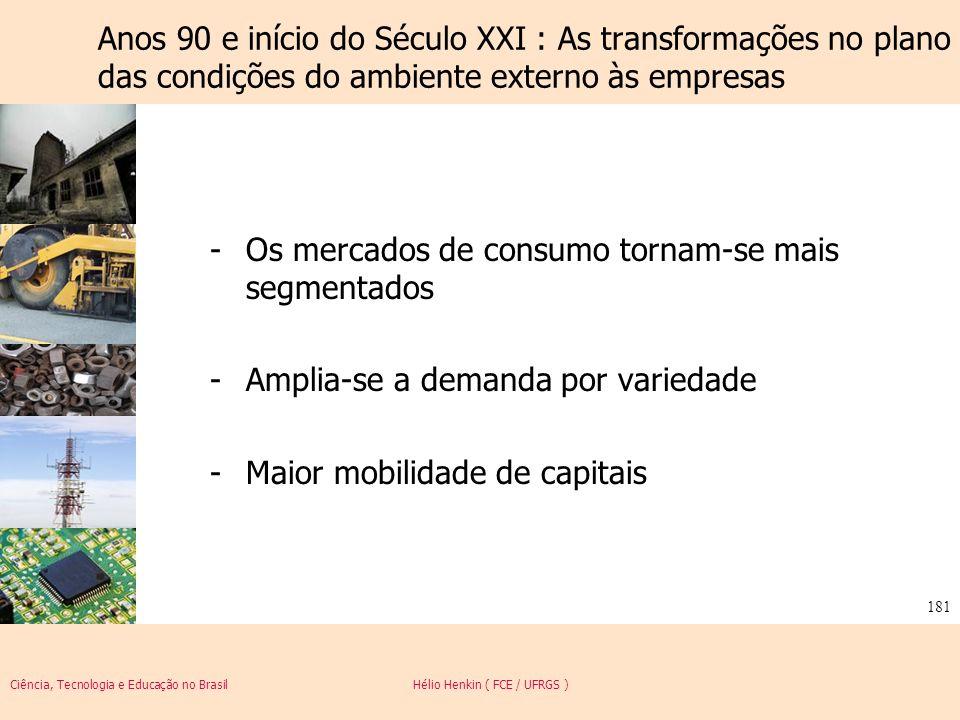 Ciência, Tecnologia e Educação no Brasil Hélio Henkin ( FCE / UFRGS ) 181 Anos 90 e início do Século XXI : As transformações no plano das condições do