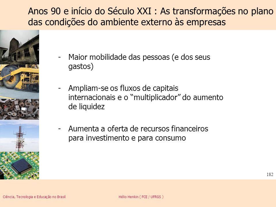 Ciência, Tecnologia e Educação no Brasil Hélio Henkin ( FCE / UFRGS ) 182 -Maior mobilidade das pessoas (e dos seus gastos) -Ampliam-se os fluxos de c