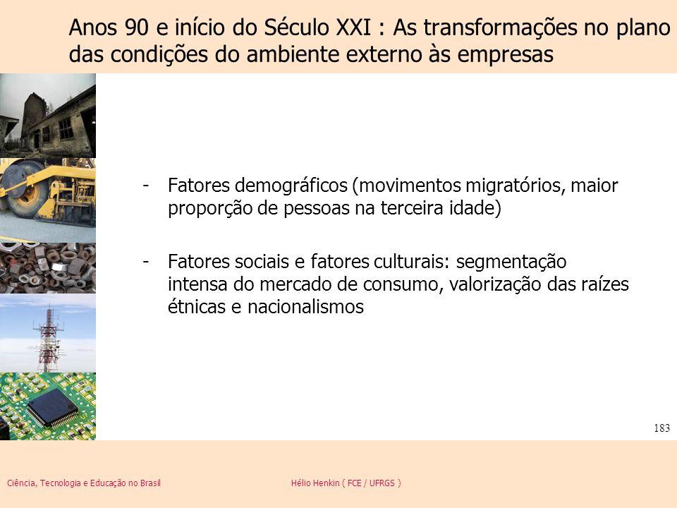 Ciência, Tecnologia e Educação no Brasil Hélio Henkin ( FCE / UFRGS ) 183 -Fatores demográficos (movimentos migratórios, maior proporção de pessoas na