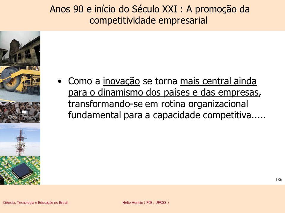 Ciência, Tecnologia e Educação no Brasil Hélio Henkin ( FCE / UFRGS ) 186 Anos 90 e início do Século XXI : A promoção da competitividade empresarial C