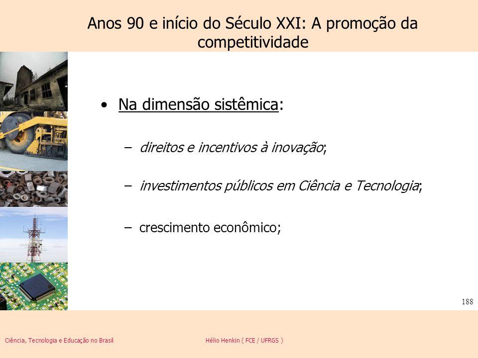 Ciência, Tecnologia e Educação no Brasil Hélio Henkin ( FCE / UFRGS ) 188 Anos 90 e início do Século XXI: A promoção da competitividade Na dimensão si