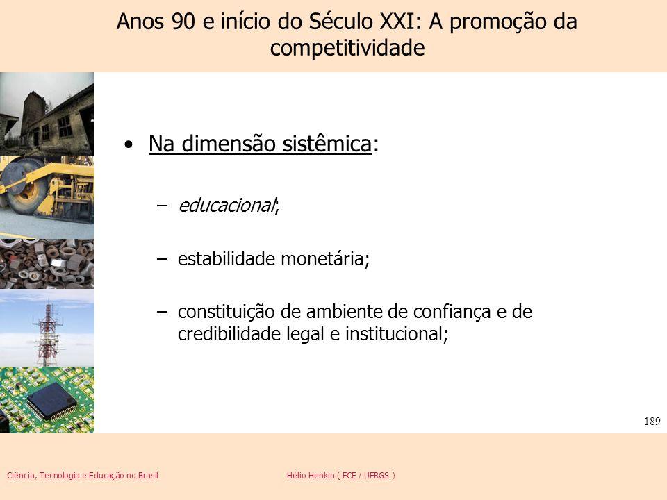 Ciência, Tecnologia e Educação no Brasil Hélio Henkin ( FCE / UFRGS ) 189 Anos 90 e início do Século XXI: A promoção da competitividade Na dimensão si
