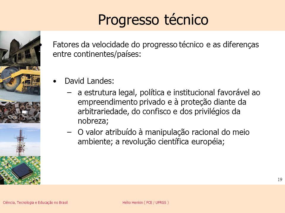 Ciência, Tecnologia e Educação no Brasil Hélio Henkin ( FCE / UFRGS ) 19 Progresso técnico Fatores da velocidade do progresso técnico e as diferenças