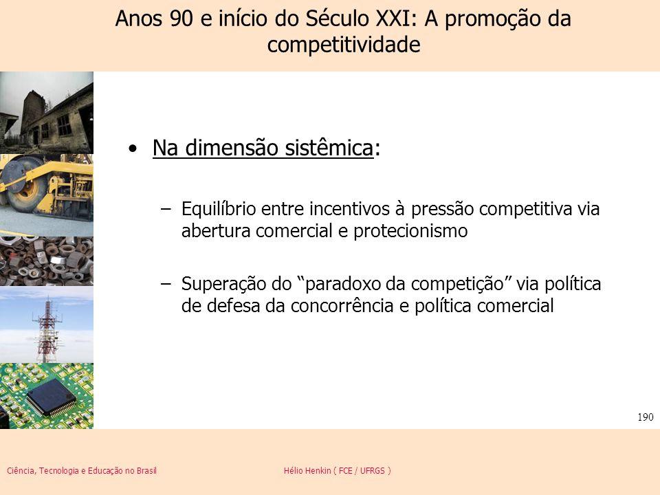 Ciência, Tecnologia e Educação no Brasil Hélio Henkin ( FCE / UFRGS ) 190 Anos 90 e início do Século XXI: A promoção da competitividade Na dimensão si