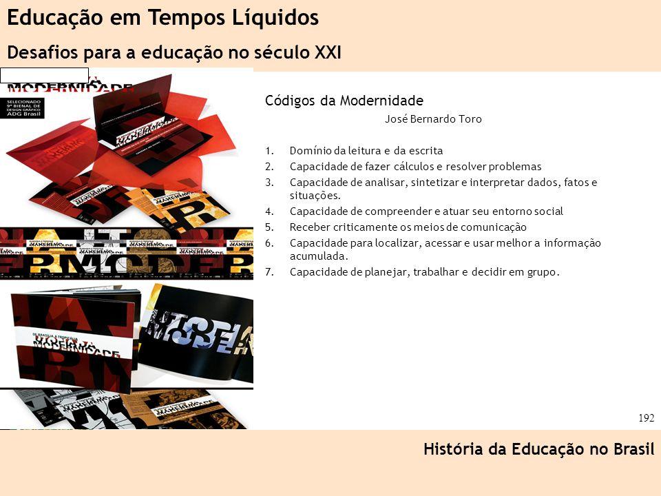 Ciência, Tecnologia e Educação no Brasil Hélio Henkin ( FCE / UFRGS ) 192 Códigos da Modernidade José Bernardo Toro 1.Domínio da leitura e da escrita