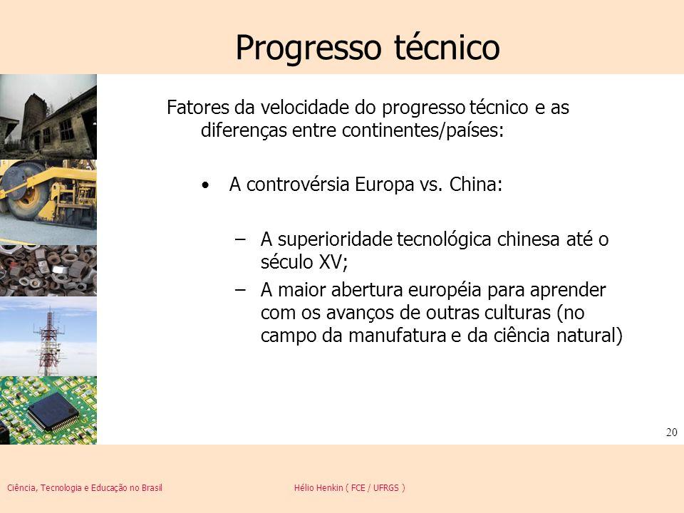 Ciência, Tecnologia e Educação no Brasil Hélio Henkin ( FCE / UFRGS ) 20 Progresso técnico Fatores da velocidade do progresso técnico e as diferenças