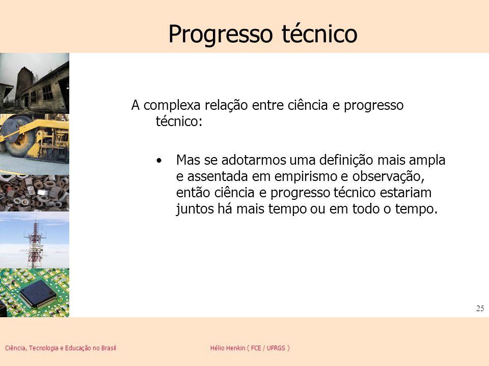 Ciência, Tecnologia e Educação no Brasil Hélio Henkin ( FCE / UFRGS ) 25 Progresso técnico A complexa relação entre ciência e progresso técnico: Mas s