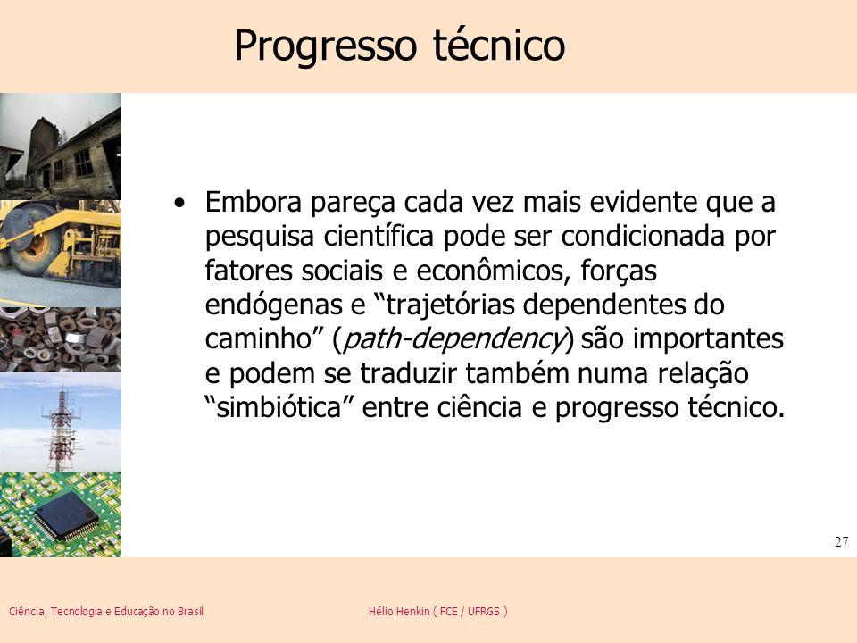 Ciência, Tecnologia e Educação no Brasil Hélio Henkin ( FCE / UFRGS ) 27 Progresso técnico Embora pareça cada vez mais evidente que a pesquisa científ