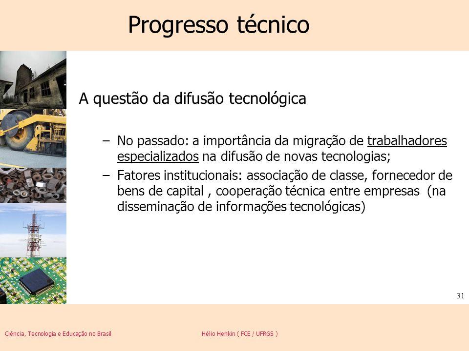 Ciência, Tecnologia e Educação no Brasil Hélio Henkin ( FCE / UFRGS ) 31 Progresso técnico A questão da difusão tecnológica –No passado: a importância