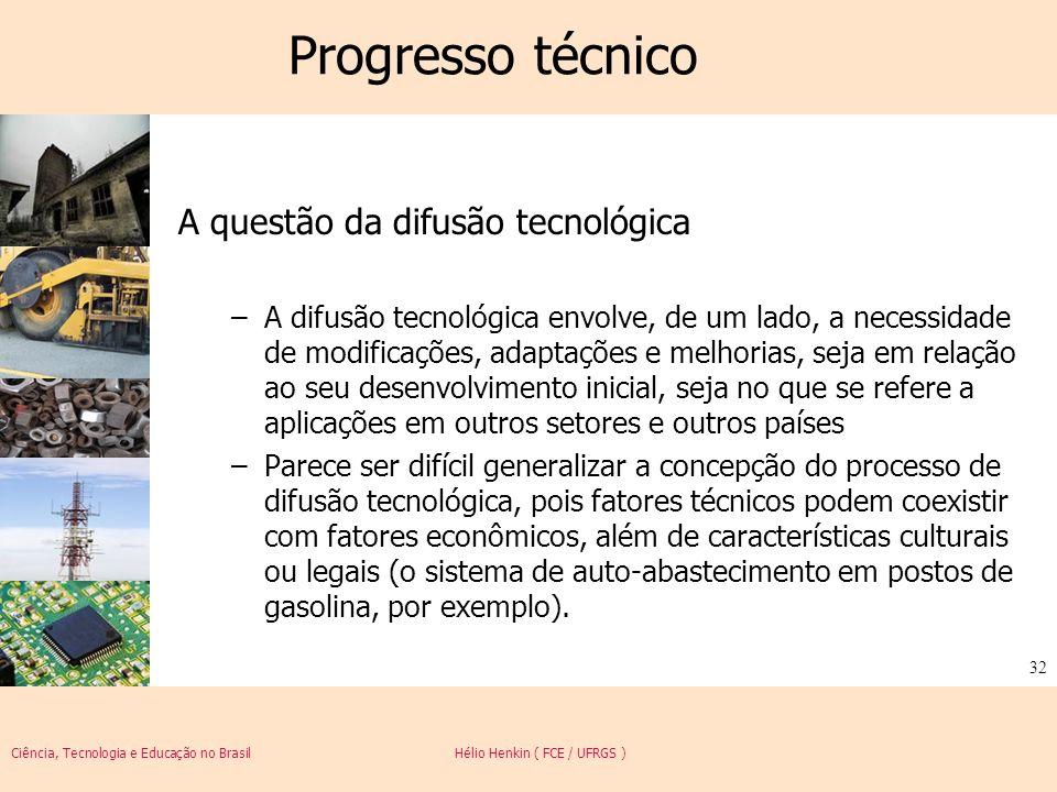 Ciência, Tecnologia e Educação no Brasil Hélio Henkin ( FCE / UFRGS ) 32 Progresso técnico A questão da difusão tecnológica –A difusão tecnológica env