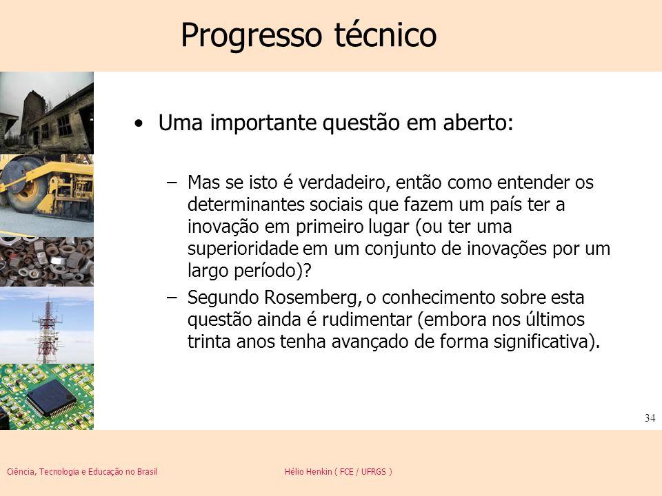 Ciência, Tecnologia e Educação no Brasil Hélio Henkin ( FCE / UFRGS ) 34 Progresso técnico Uma importante questão em aberto: –Mas se isto é verdadeiro