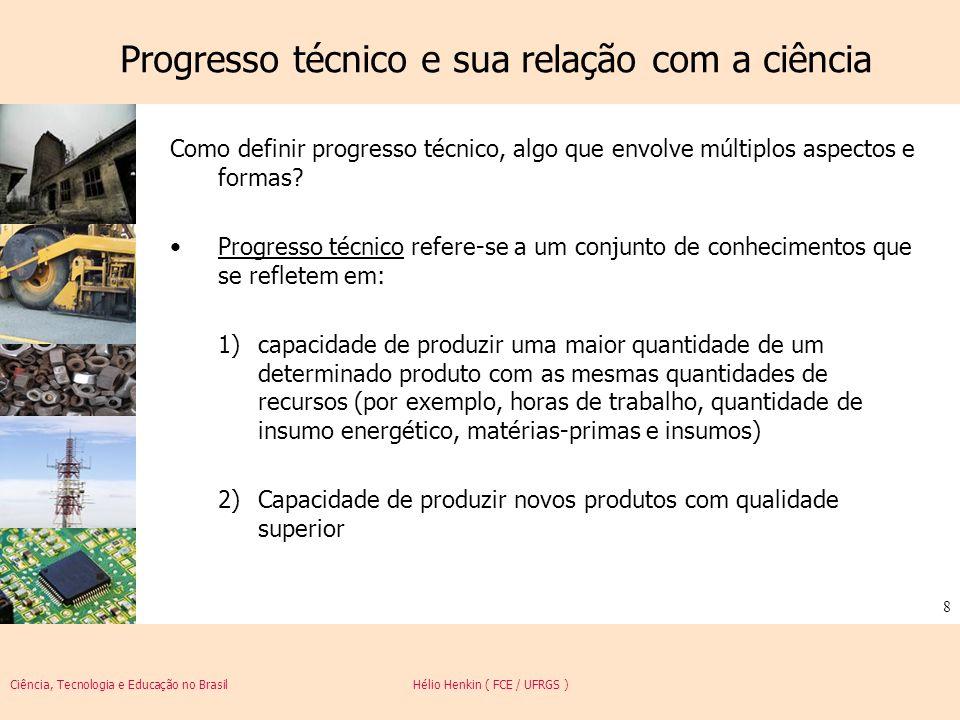 Ciência, Tecnologia e Educação no Brasil Hélio Henkin ( FCE / UFRGS ) 9 Progresso técnico Exemplos (1)Compressores para refrigeradores, agricultura mecanizada, Cirurgia videolaparoscópica utilização de fertilizantes e adubos, sistemas mais velozes de injeção de plástico para a produção de solados, sistemas eletrônicos/digitais de arquivamento de dados, miniaturização de telefones celulares; (2)Telefonia móvel, aparelhos e instrumentos para cirurgia videolaparoscópica, miniaturização de telefones celulares, impressoras digitais a laser, energia nuclear, automóvel.