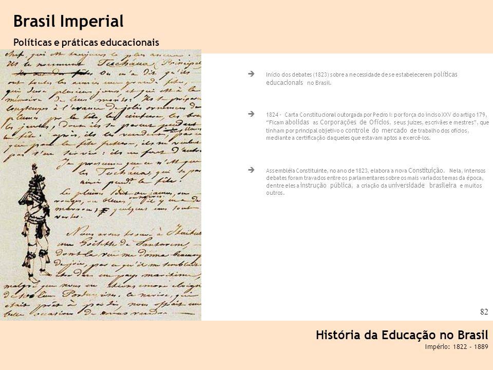 Ciência, Tecnologia e Educação no Brasil Hélio Henkin ( FCE / UFRGS ) 82 Início dos debates (1823) sobre a necessidade de se estabelecerem políticas e