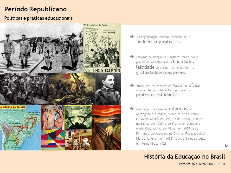 Ciência, Tecnologia e Educação no Brasil Hélio Henkin ( FCE / UFRGS ) 84 Na organização escolar, percebe-se a influência positivista. Reforma de Benja