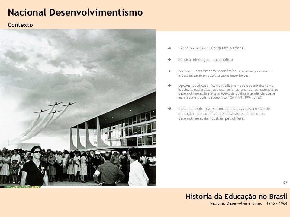 Ciência, Tecnologia e Educação no Brasil Hélio Henkin ( FCE / UFRGS ) 87 1946: reabertura do Congresso Nacional Política ideológica nacionalista Perío