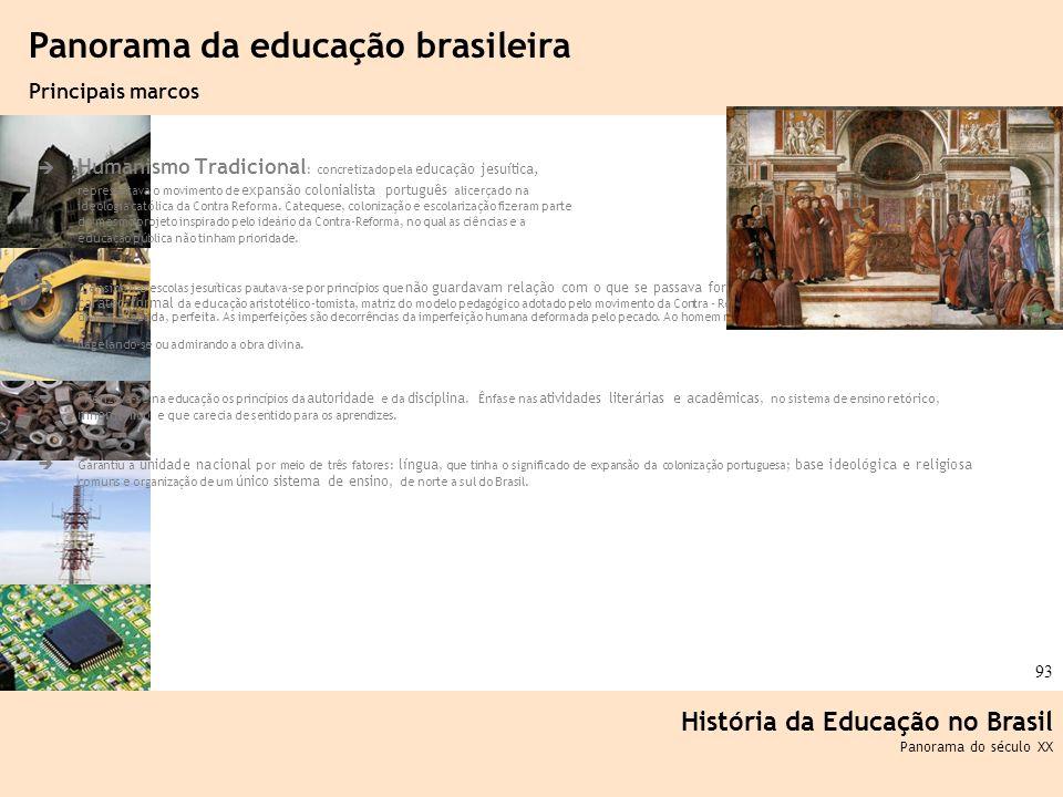 Ciência, Tecnologia e Educação no Brasil Hélio Henkin ( FCE / UFRGS ) 93 Humanismo Tradicional : concretizado pela educação jesuítica, representava o
