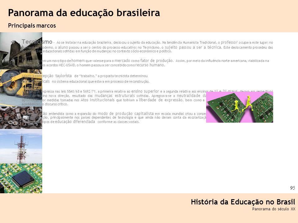 Ciência, Tecnologia e Educação no Brasil Hélio Henkin ( FCE / UFRGS ) 95 Tecnicismo - Ao se instalar na educação brasileira, deslocou o sujeito da edu