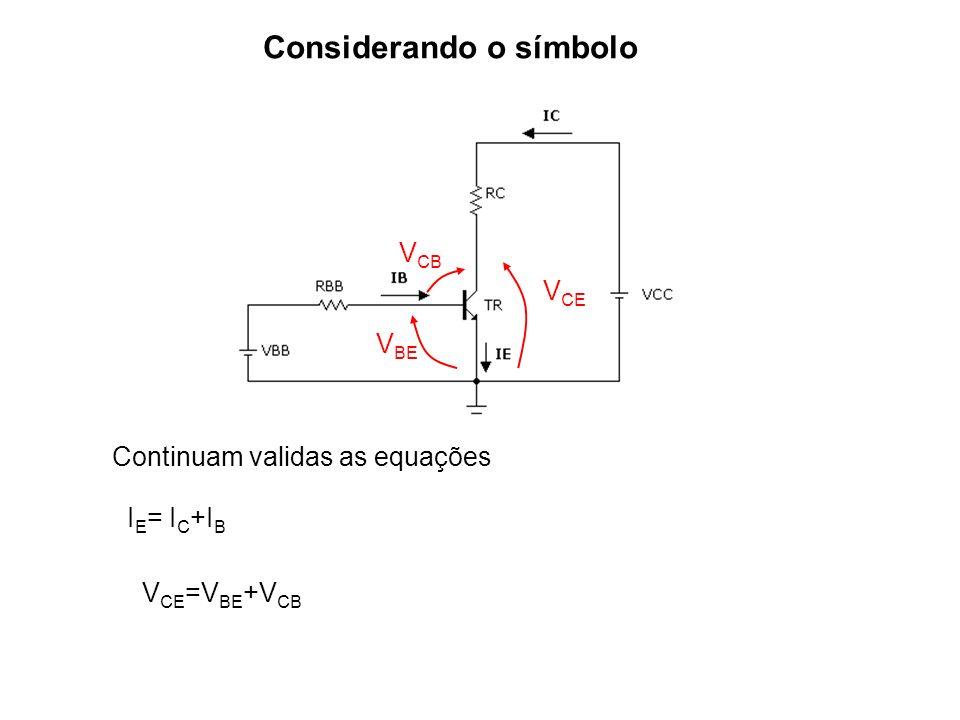 Considerando o símbolo Continuam validas as equações I E = I C +I B V CE =V BE +V CB V CE V BE V CB