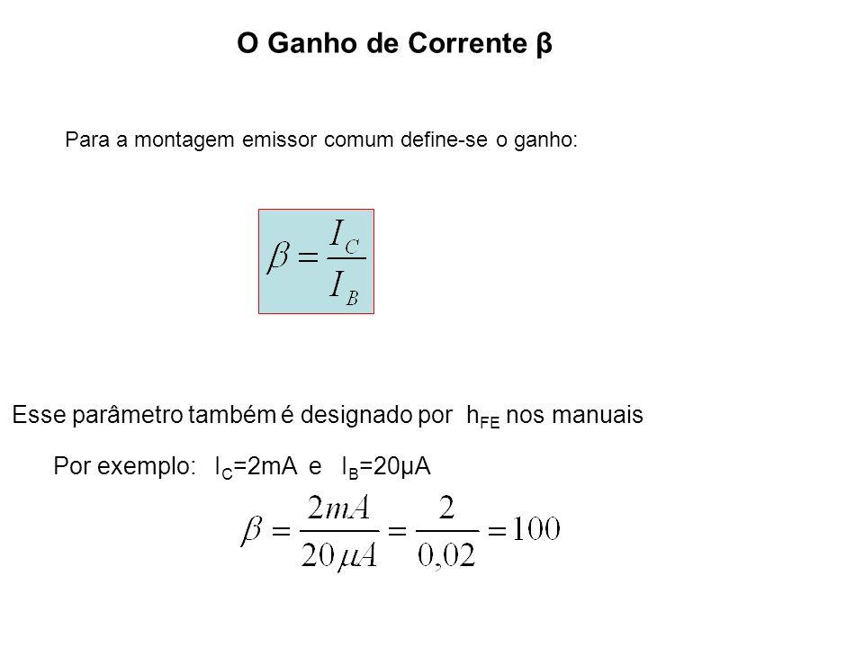 Para a montagem emissor comum define-se o ganho: O Ganho de Corrente β Esse parâmetro também é designado por h FE nos manuais Por exemplo: I C =2mA e