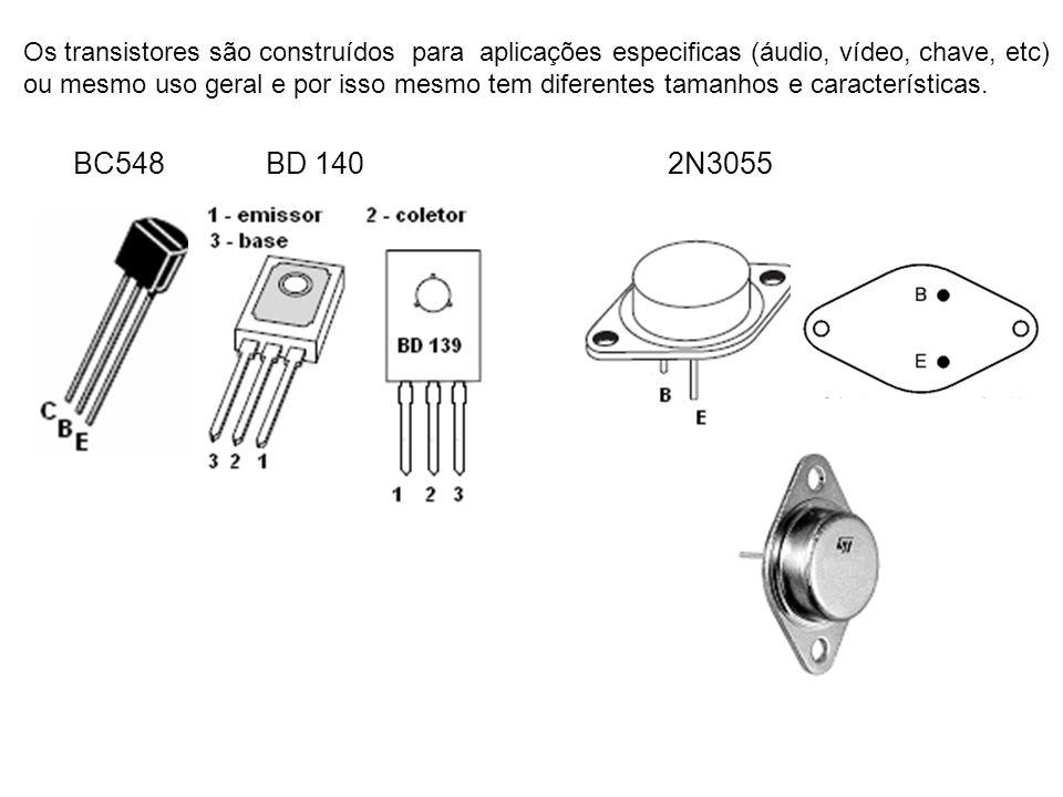 Os transistores são construídos para aplicações especificas (áudio, vídeo, chave, etc) ou mesmo uso geral e por isso mesmo tem diferentes tamanhos e c