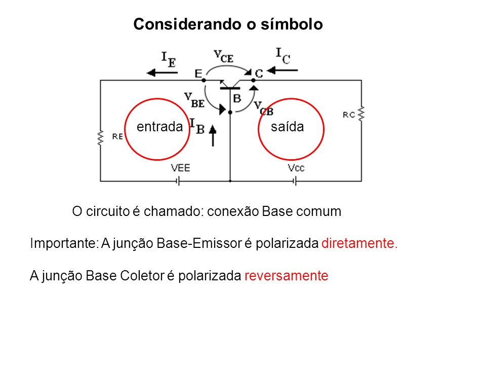 Importante: A junção Base-Emissor é polarizada diretamente. A junção Base Coletor é polarizada reversamente Considerando o símbolo O circuito é chamad
