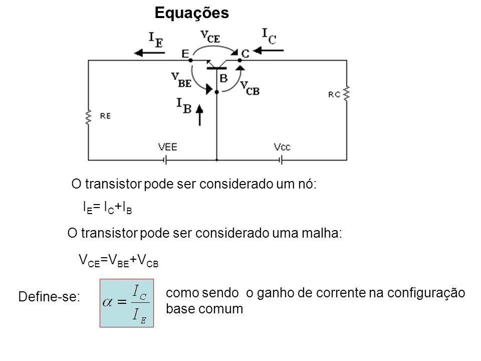 Equações O transistor pode ser considerado um nó: I E = I C +I B O transistor pode ser considerado uma malha: V CE =V BE +V CB Define-se: como sendo o