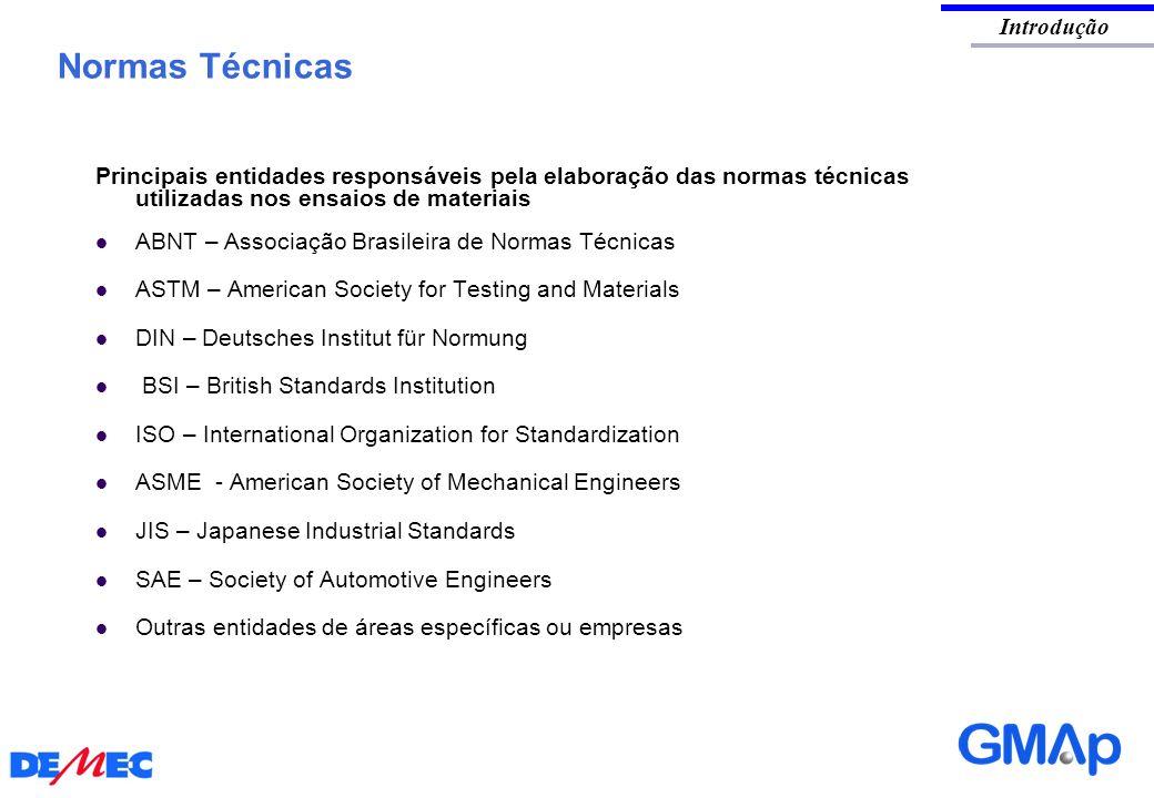 Principais entidades responsáveis pela elaboração das normas técnicas utilizadas nos ensaios de materiais ABNT – Associação Brasileira de Normas Técni