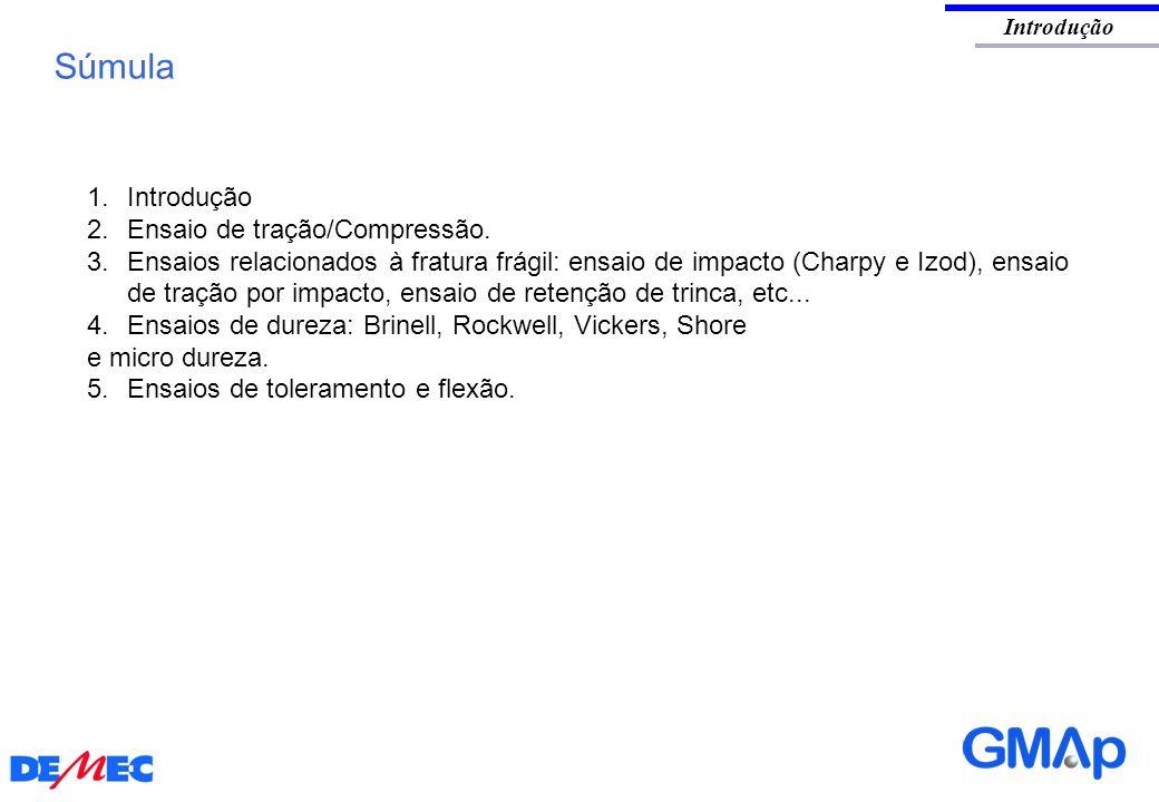 Introdução Súmula 1.Introdução 2.Ensaio de tração/Compressão. 3. Ensaios relacionados à fratura frágil: ensaio de impacto (Charpy e Izod), ensaio de t