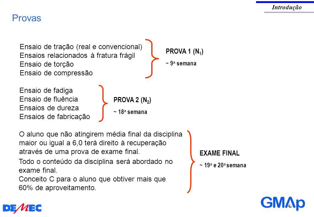 Introdução Provas EXAME FINAL ~ 19 a e 20 a semana PROVA 1 (N 1 ) ~ 9 a semana PROVA 2 (N 2 ) ~ 18 a semana Ensaio de tração (real e convencional) Ens
