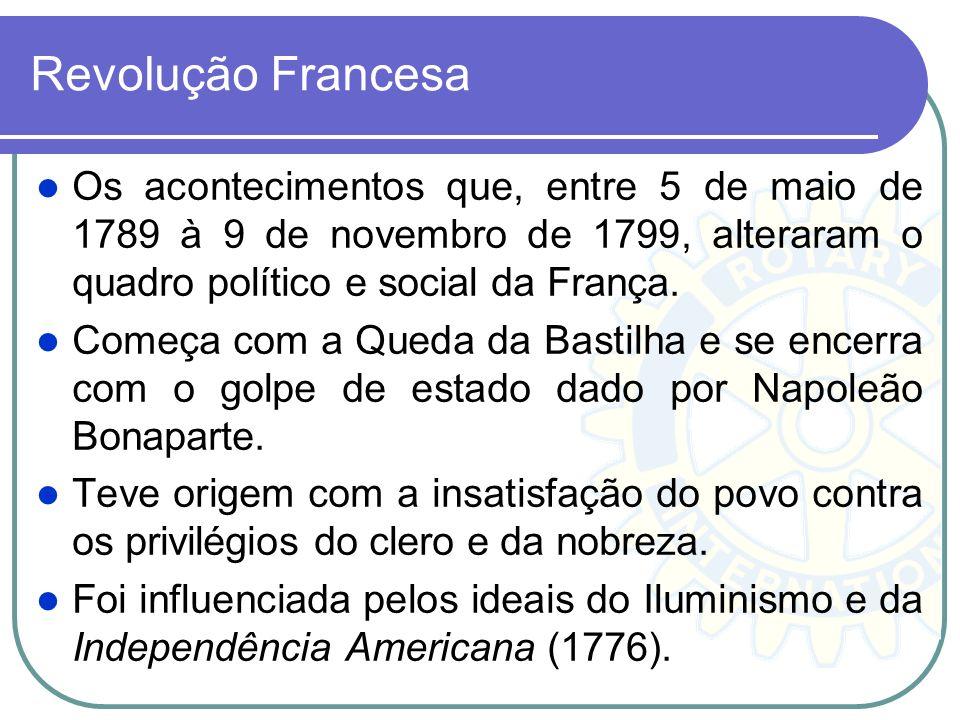 Revolução Francesa Os acontecimentos que, entre 5 de maio de 1789 à 9 de novembro de 1799, alteraram o quadro político e social da França. Começa com