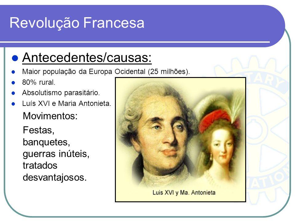 Revolução Francesa Antecedentes/causas: Maior população da Europa Ocidental (25 milhões). 80% rural. Absolutismo parasitário. Luís XVI e Maria Antonie