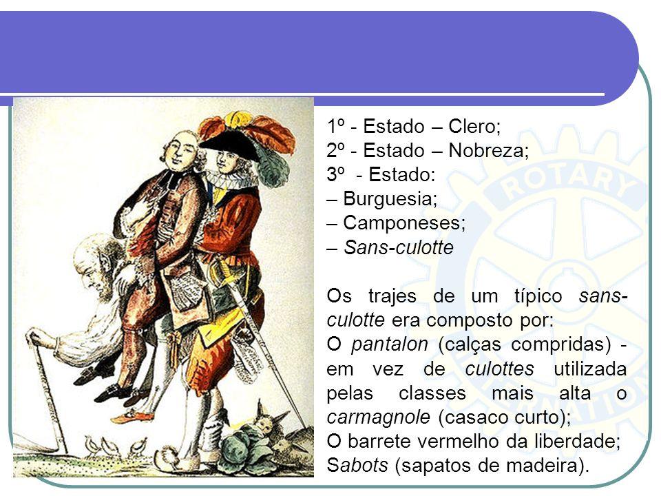 1º - Estado – Clero; 2º - Estado – Nobreza; 3º - Estado: – Burguesia; – Camponeses; – Sans-culotte Os trajes de um típico sans- culotte era composto p