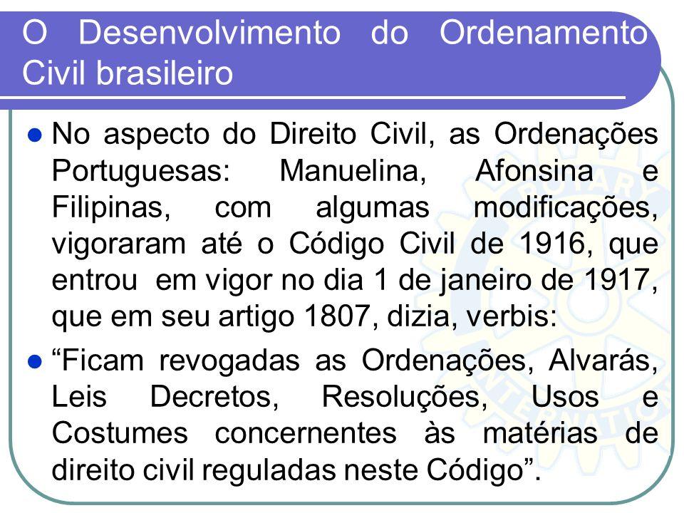 O Desenvolvimento do Ordenamento Civil brasileiro No aspecto do Direito Civil, as Ordenações Portuguesas: Manuelina, Afonsina e Filipinas, com algumas