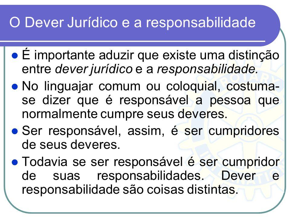 O Dever Jurídico e a responsabilidade É importante aduzir que existe uma distinção entre dever jurídico e a responsabilidade. No linguajar comum ou co