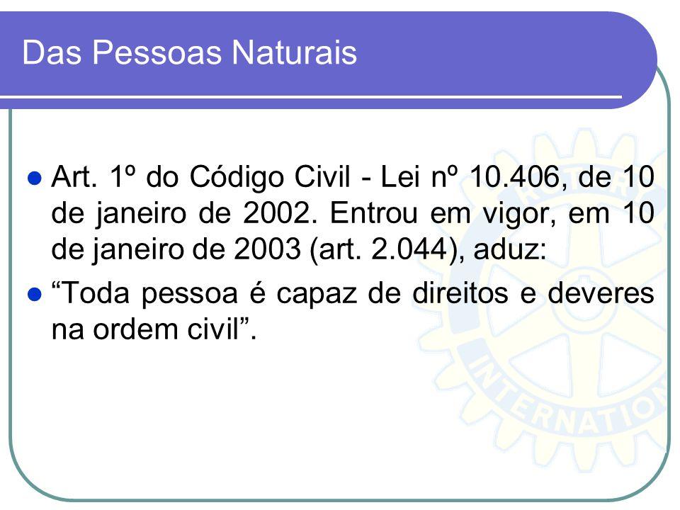 Das Pessoas Naturais Art. 1º do Código Civil - Lei nº 10.406, de 10 de janeiro de 2002. Entrou em vigor, em 10 de janeiro de 2003 (art. 2.044), aduz:
