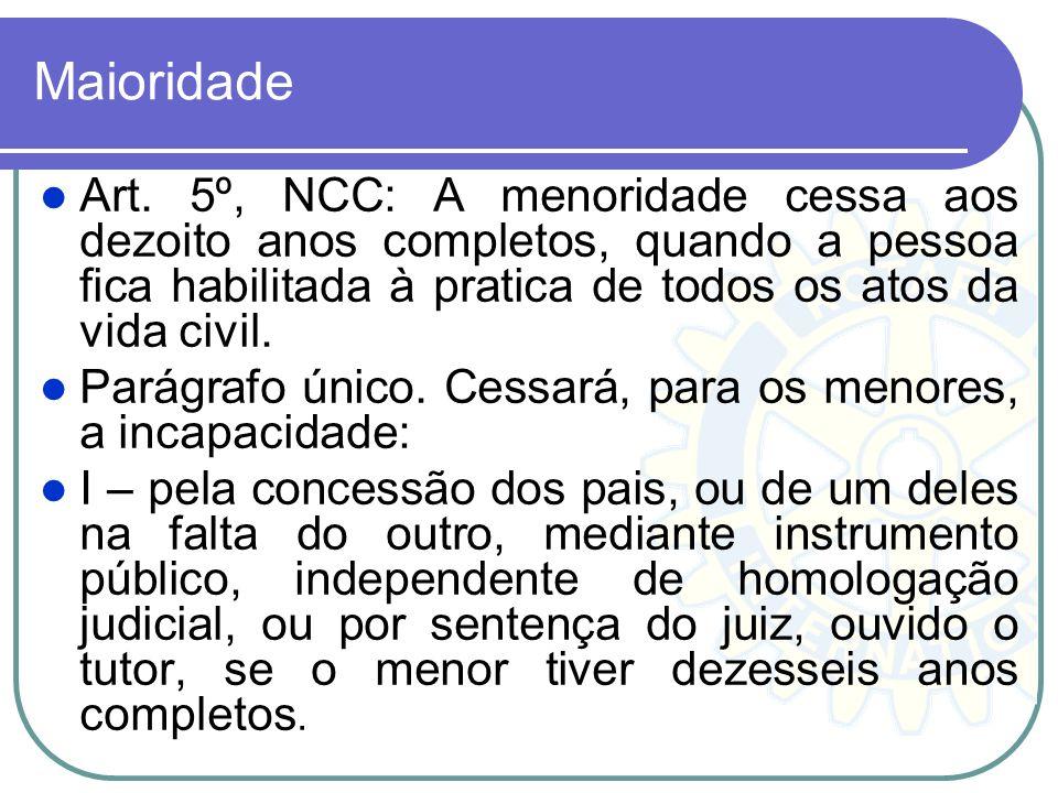 Maioridade Art. 5º, NCC: A menoridade cessa aos dezoito anos completos, quando a pessoa fica habilitada à pratica de todos os atos da vida civil. Pará