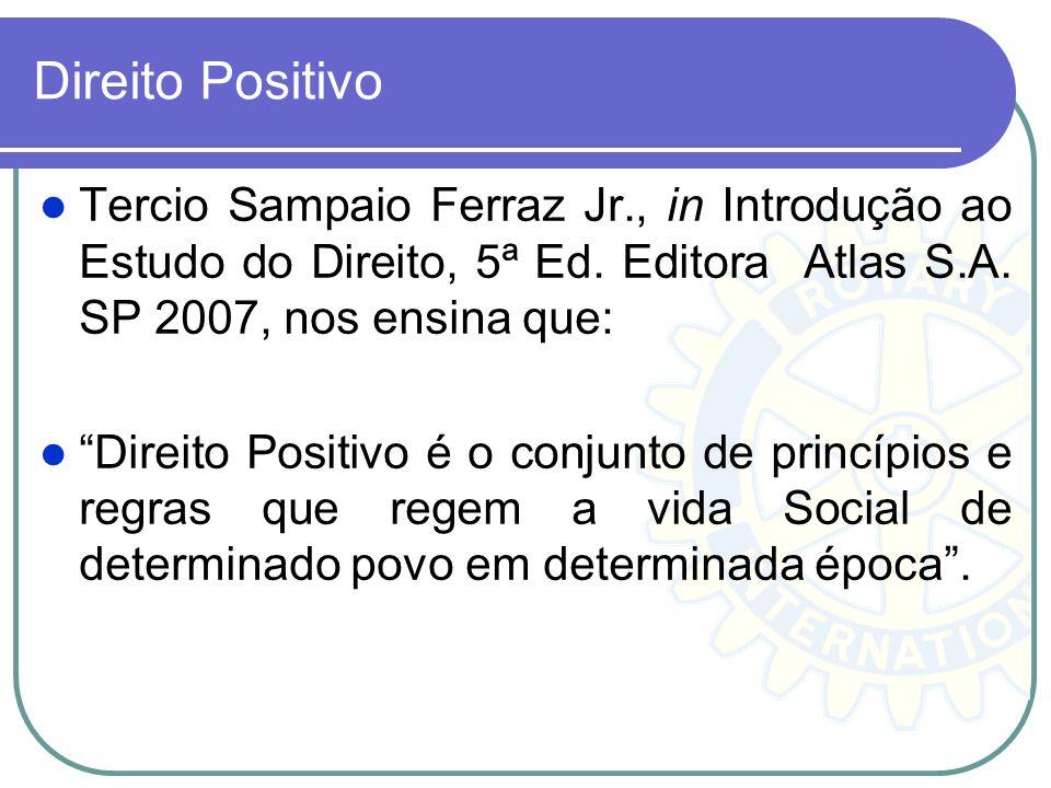 Direito Positivo Tercio Sampaio Ferraz Jr., in Introdução ao Estudo do Direito, 5ª Ed. Editora Atlas S.A. SP 2007, nos ensina que: Direito Positivo é