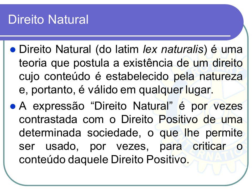 Direito Natural Direito Natural (do latim lex naturalis) é uma teoria que postula a existência de um direito cujo conteúdo é estabelecido pela naturez